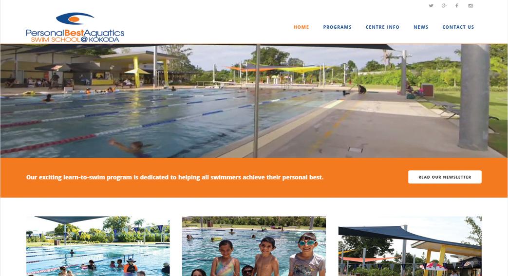 Personal-Best Aquatics Swim School at Kokoda-Website-design